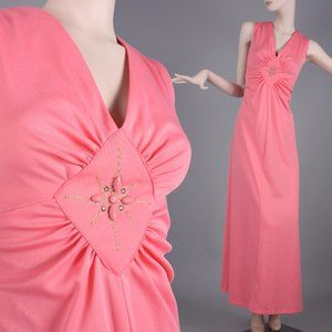 XL/XXL Vintage 60s Pink Mango Maxi Hostess Dress